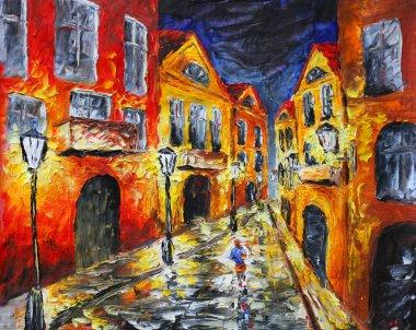 """Картина, постер, плакат, фотообои """"оригинальная картина маслом. одинокая дождливая улица маслом копия картина панно"""", артикул 71515999"""