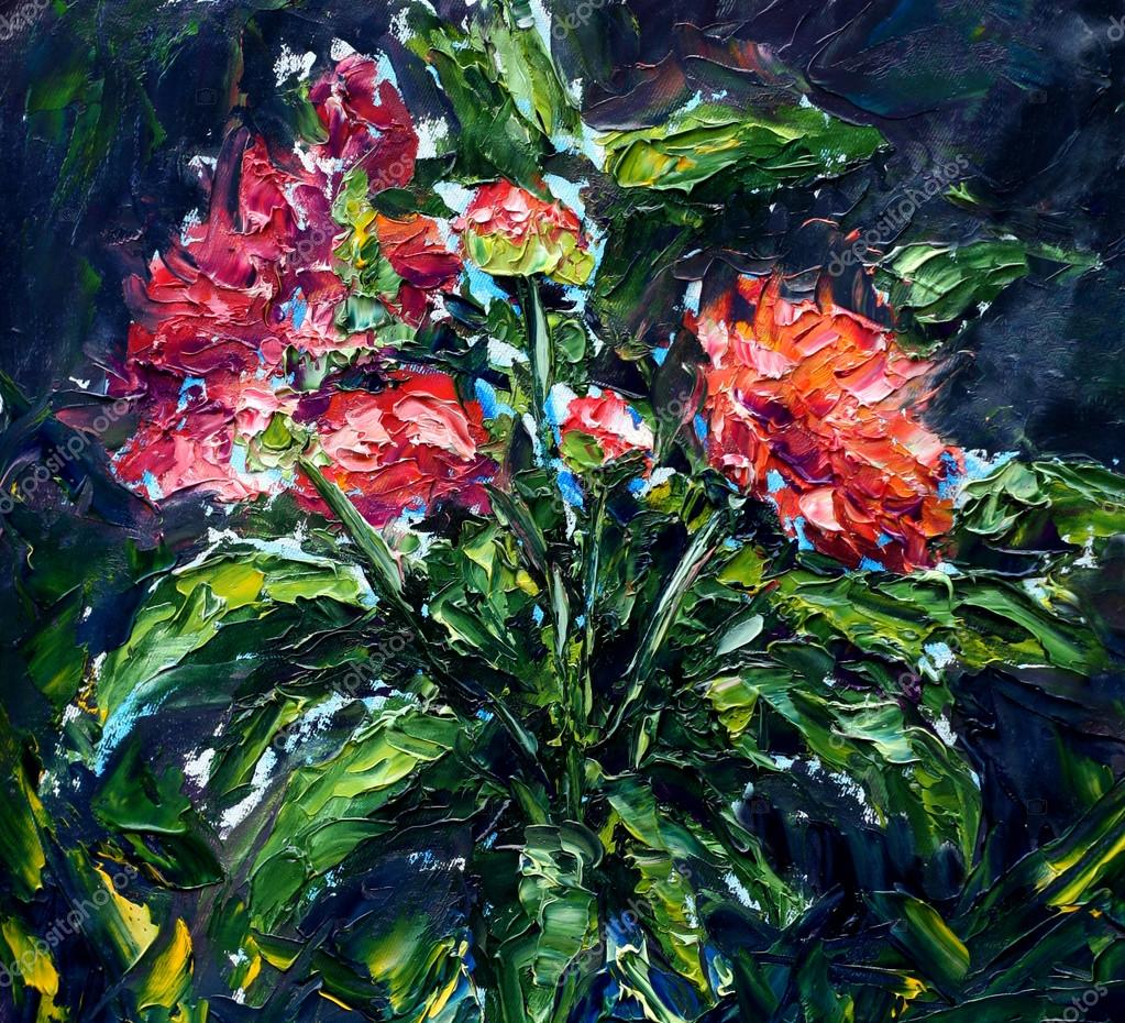 Abstract red flowers. Original oil painting on canvas