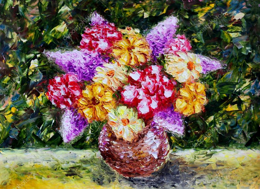 Vase flowers. Original oil painting. Modern Impressionism.