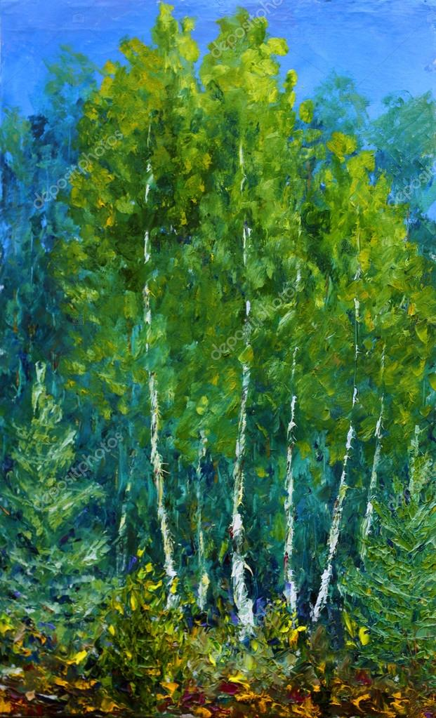 Original oil painting Glade of beautiful trees in the forest.