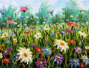 Original oil painting on canvas Wildflowers.