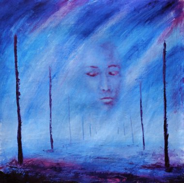 Abstract painting. Foggy face. After death. Road of life. Poles. Purple.