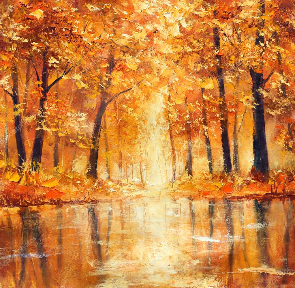 Reflection of autumn trees in water. Painting.
