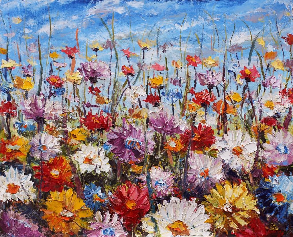 Painting of flowers,beautiful field flowers on canvas