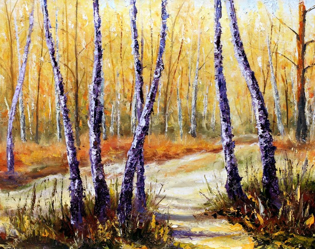 Birch trees in a sunny forest. Palette knife artwork. Impressionism. Art.