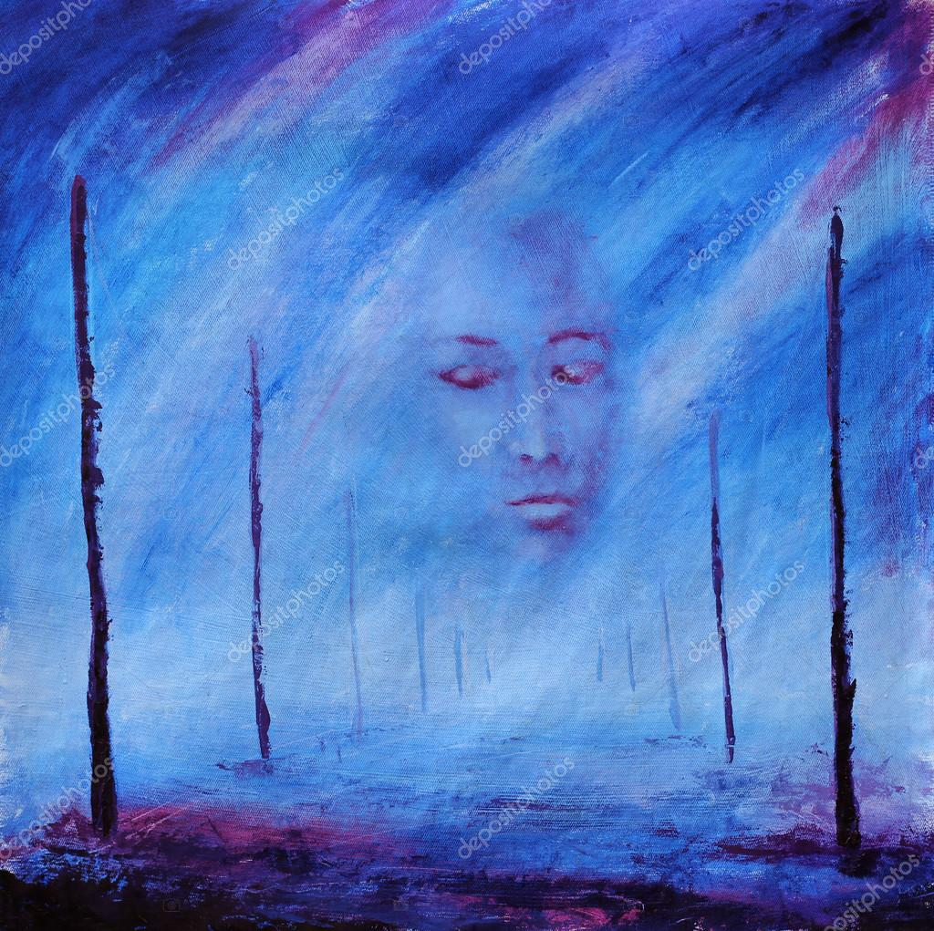 Abstract Painting Foggy Face After Death Road Of Life
