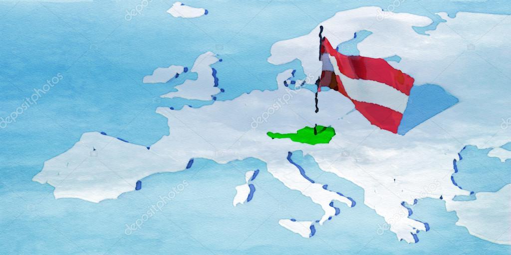 3d Karte Osterreich.3d Karte Europa Mit Fahne Osterreich Stockfoto C Albasu