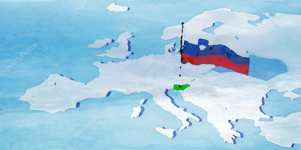 3D map Europe with flag Slovenia — Stock Photo © albasu #106874412