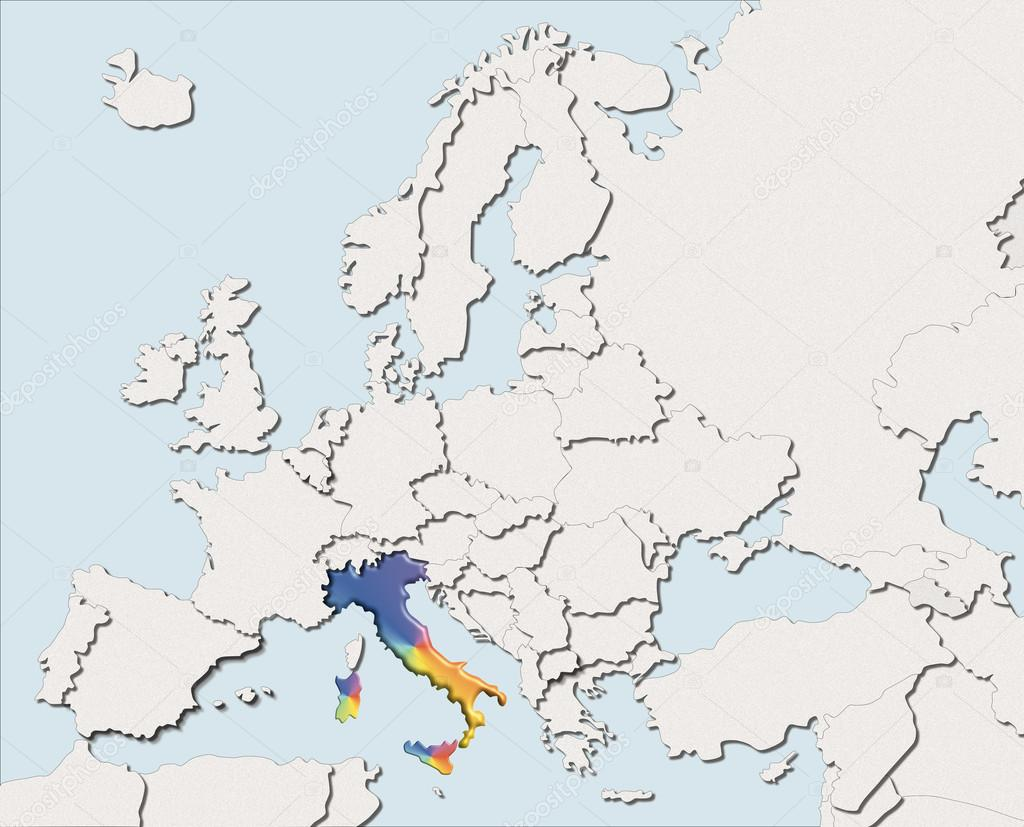 Europe Map White Map Europe White And Color Italy Stock Photo