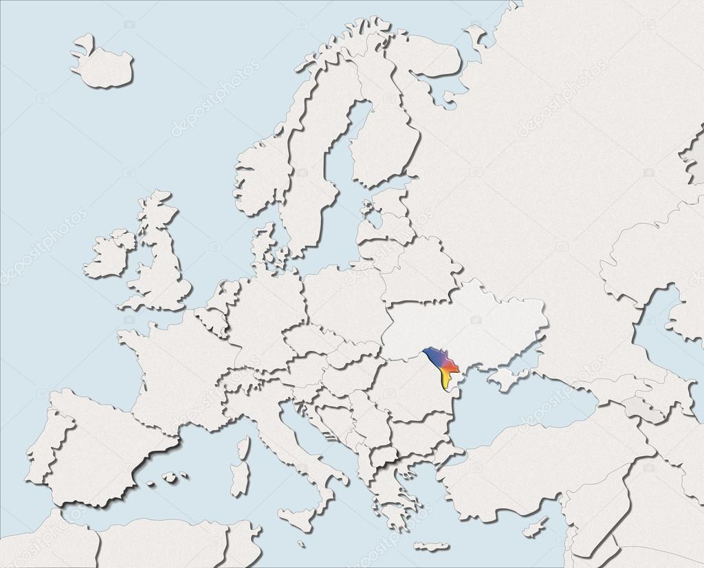 Map Europe White And Color Moldova Stock Photo C Albasu 107069714
