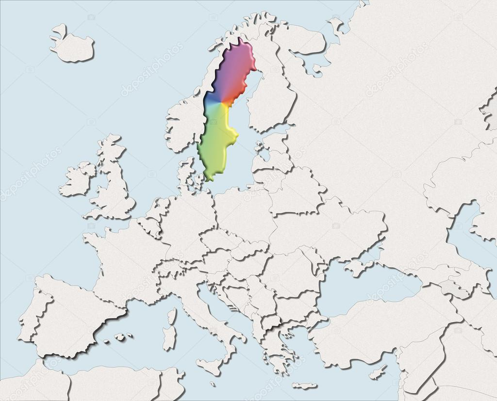Map Europe White And Color Sweden Stock Photo C Albasu 107073210