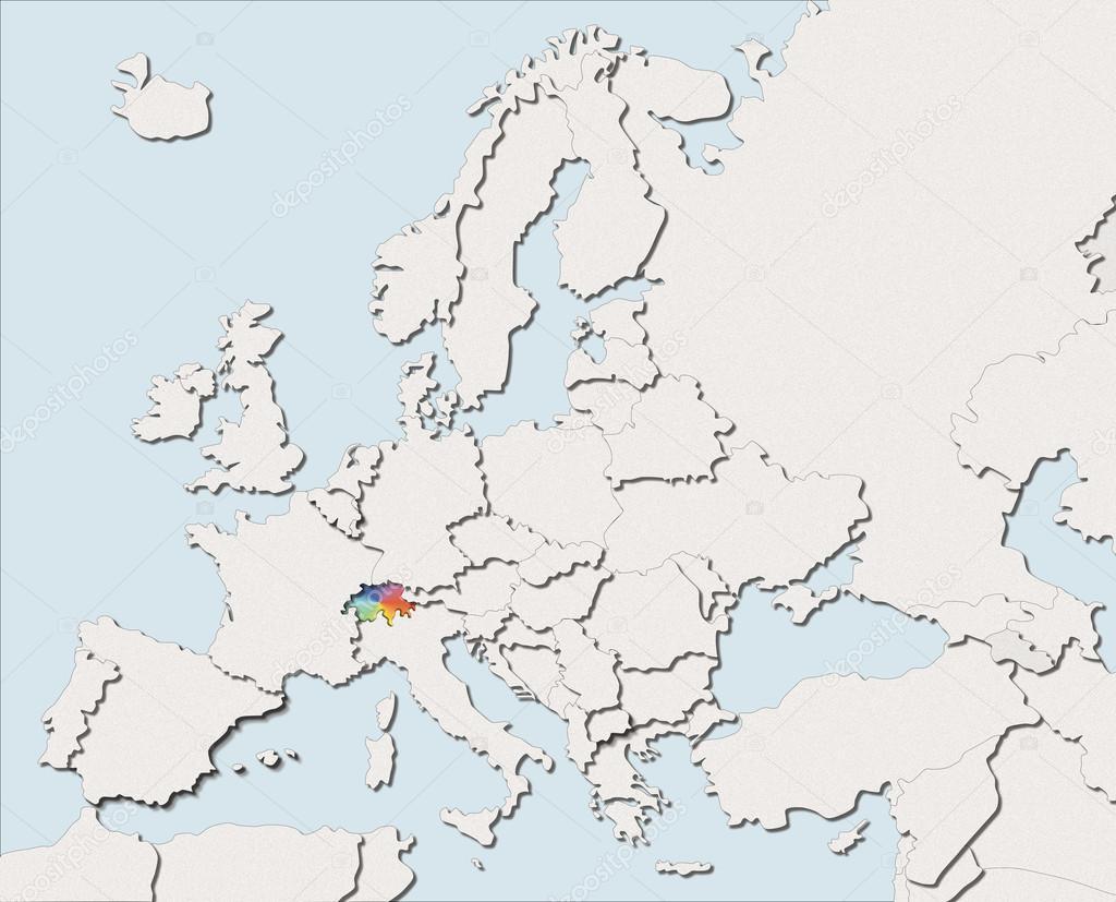 Map Europe White And Color Switzerland Stock Photo C Albasu 107073566