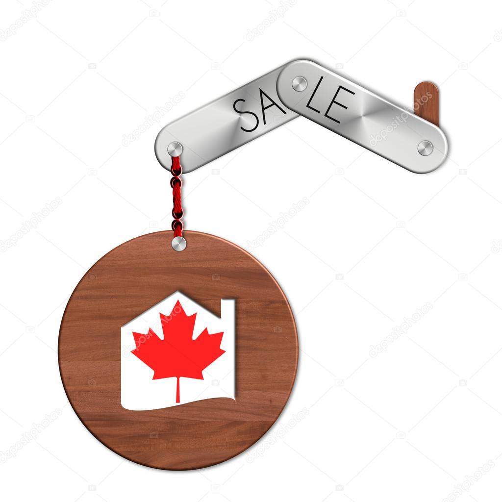 Hausverkäufe gadget stahl und holz mit der nation und hausverkäufe symbol kanada
