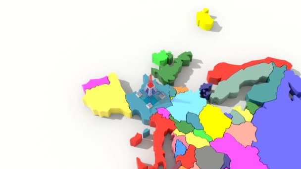 Animation 3D map Europe with Eiffel tower colors France