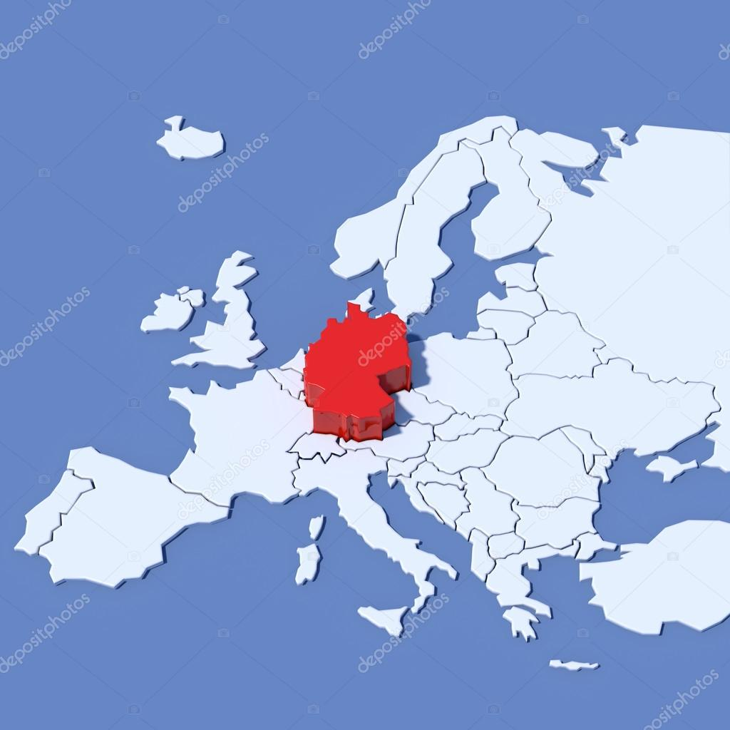 3d Map Of Europe With Indication Germany Stock Photo C Albasu