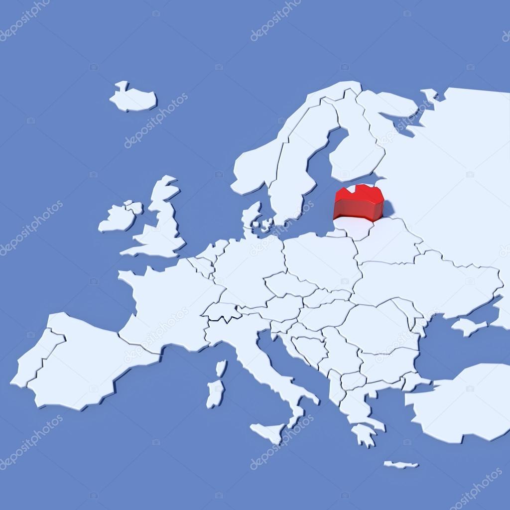 Lettland Karta Europa.3d Karta Over Europa Med Beteckning Lettland Stockfotografi