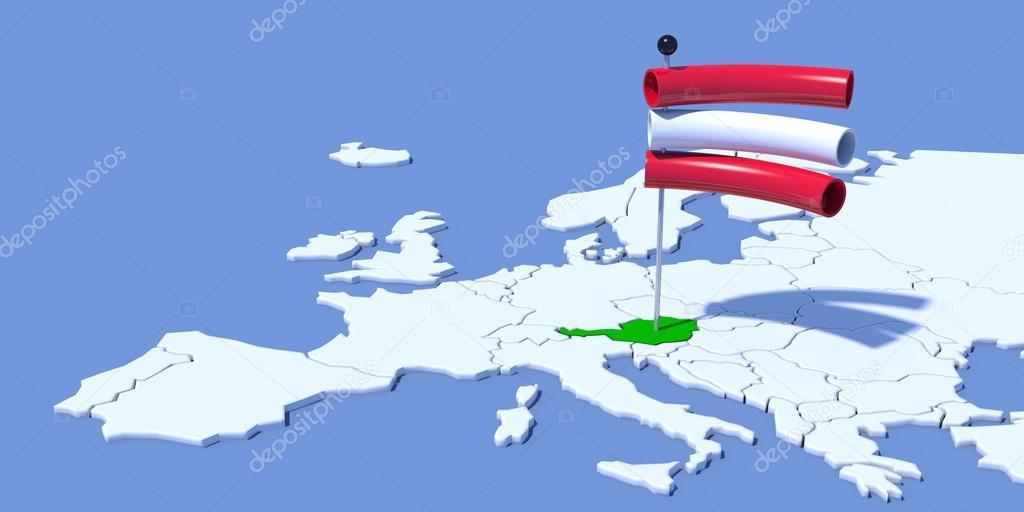 3d Karte Osterreich.Europa 3d Karte Mit Fahne Osterreich Stockfoto C Albasu