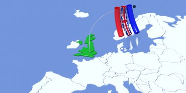 Europe 3D map with flag UK