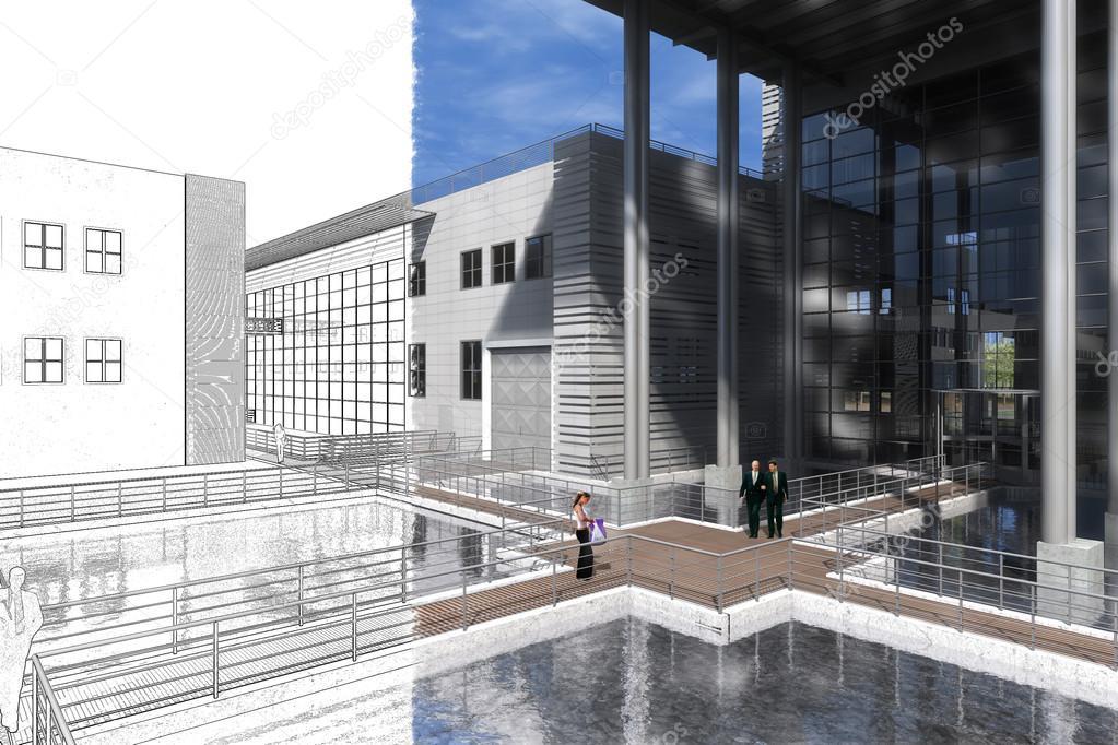 Modellazione 3d edificio interno ed esterno con mobili for Modellazione 3d gratis