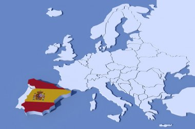 Europe Map 3D Relief Spain flag colors