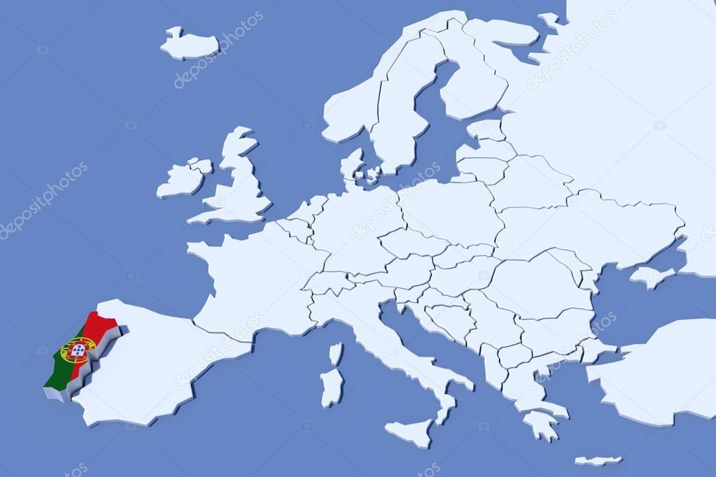 mapa portugal na europa Europa mapa 3d cores de bandeira do relevo de Portugal  mapa portugal na europa