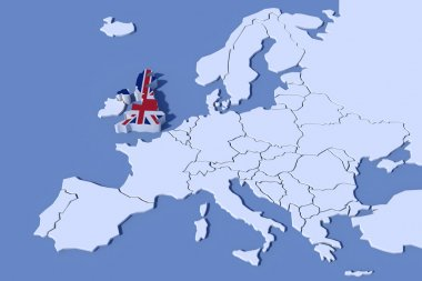 Europe Map 3D Relief UK flag colors
