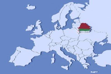 Europe Map 3D Relief Belarus flag colors