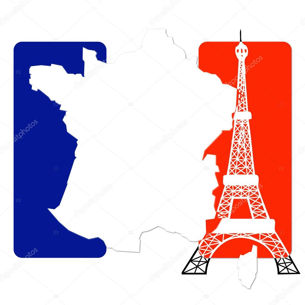 France Color Flag And Eiffel Tower Stock Photo