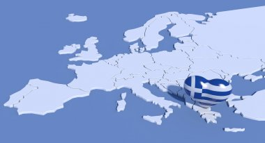 Europe map 3d with heart Greece