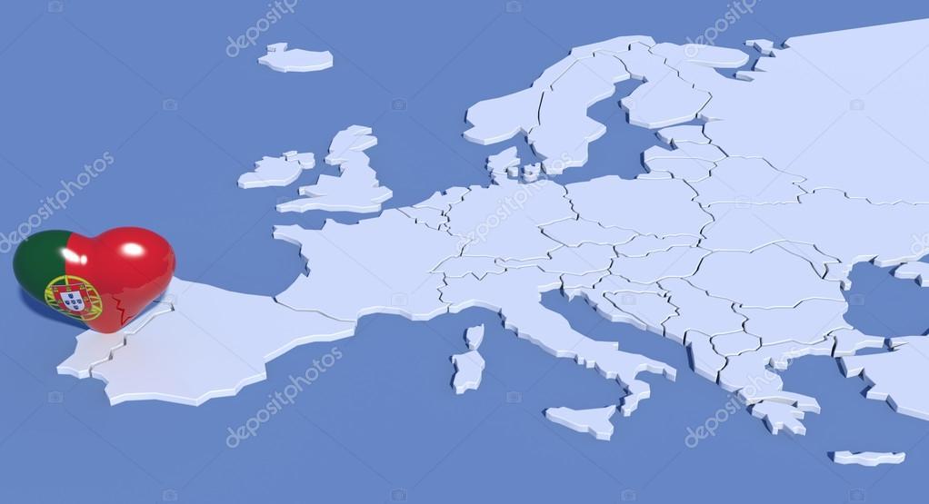 Karta Europa Portugal.Europa Karta 3d Med Hjartat Portugal Stockfotografi C Albasu 70572325