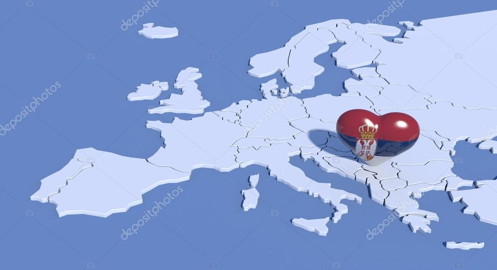 Europe map 3d with heart Serbia Stock Photo albasu 70572555