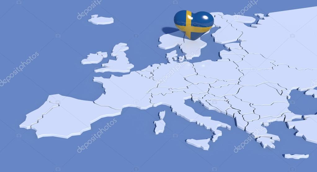 Europe Map D With Heart Sweden Stock Photo Albasu - Sweden map 3d