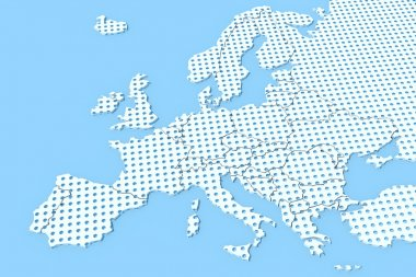 Europe 3D texture map