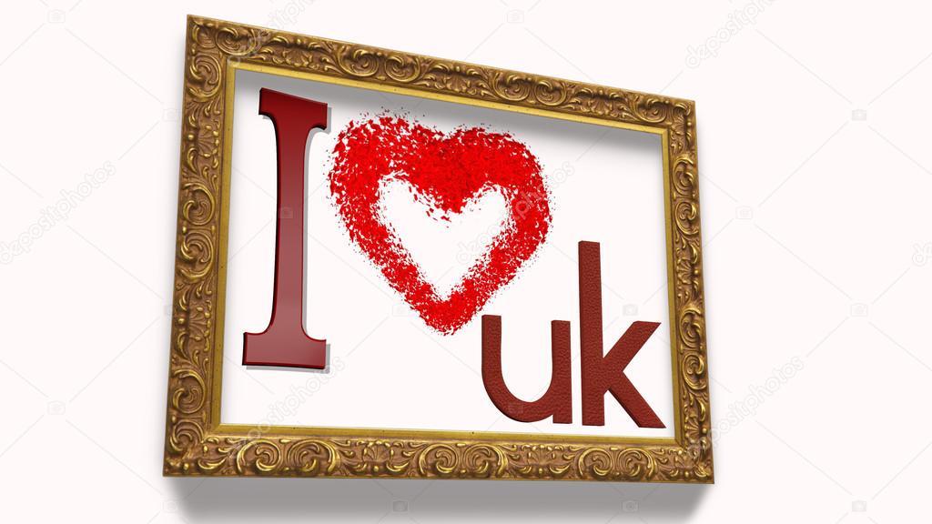 Amo a Reino Unido con el marco — Foto de stock © albasu #82668598