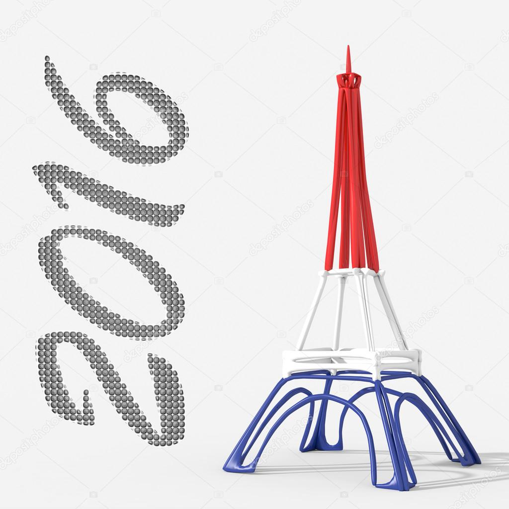 paris happy new year 2016 with eiffel tower stock photo