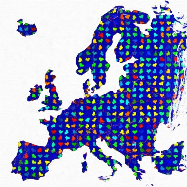 Europe map 3d grunge with hearts