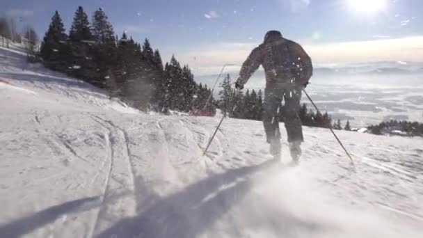 Skier Carving Down