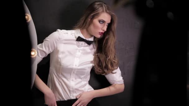 Model In White Shirt  Posing