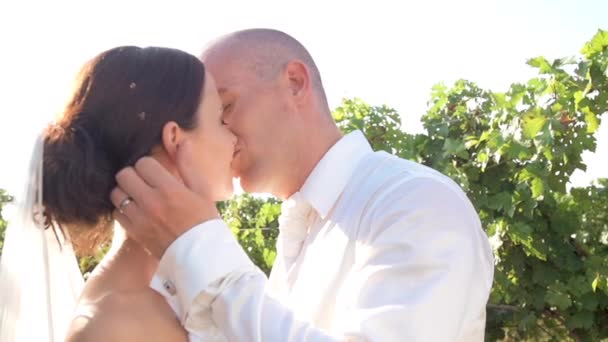 Svatební pár líbání