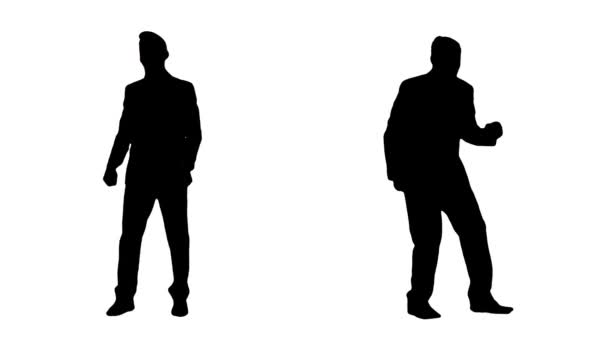 Silhouettes Of Businessmen Celebrating Their Success