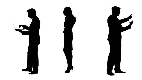 Multiple Silhouettes Of Busy Business People