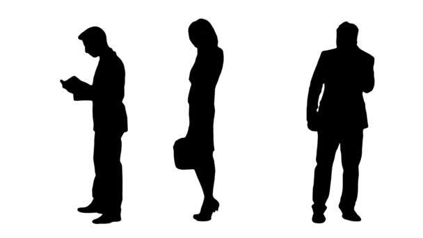 Mehrere Silhouetten geschäftiger Geschäftsleute