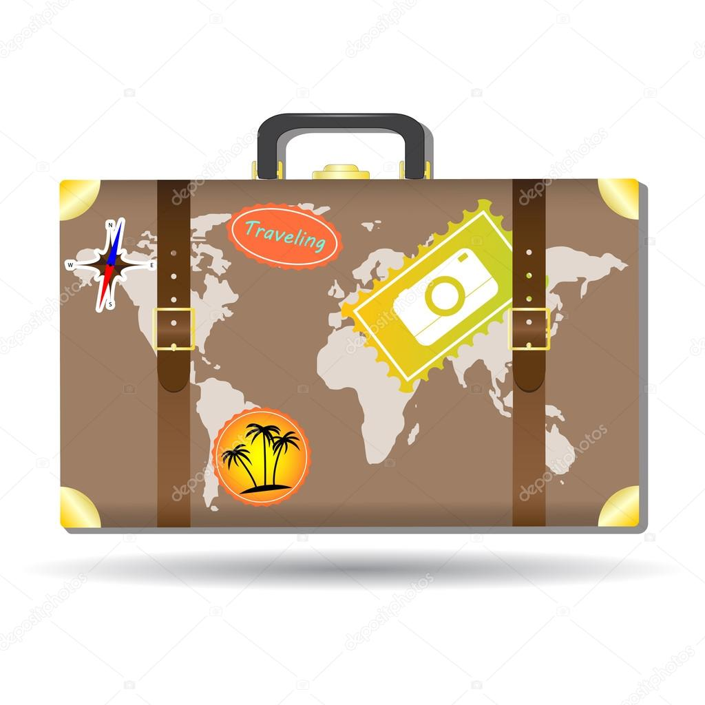 Traveling bag with stickers and world map stock vector mrmaguai brown traveling bag with stickers and world map for your travel agency and suitcase vector by mrmaguai gumiabroncs Choice Image