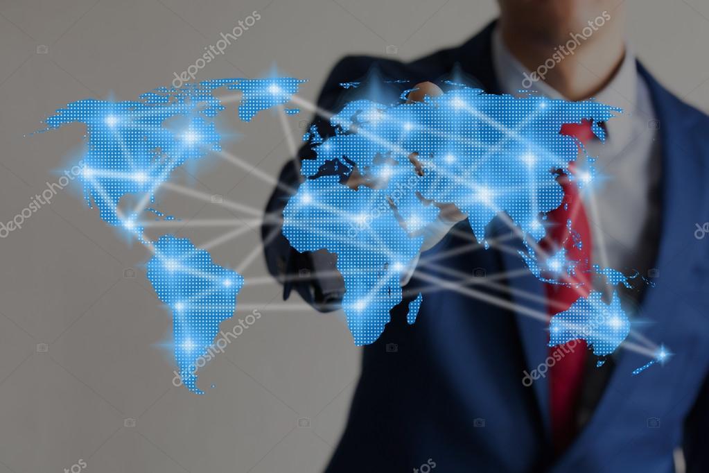 Businessman touching blue virtual world map connected to each other businessman touching blue virtual world map connected to each other photo by twinsterphoto gumiabroncs Choice Image