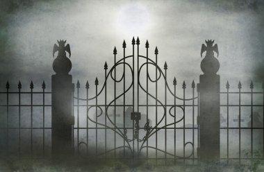 Cemetery gate wide.