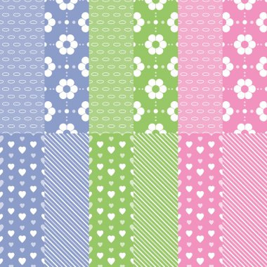 Cute baby girl and boy pattern collection
