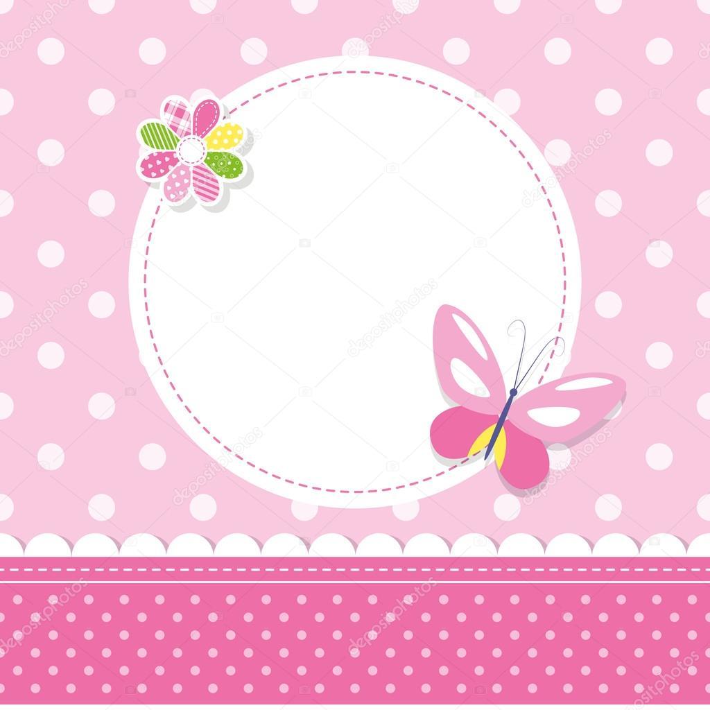 Tarjeta De Felicitaci 243 N De Mariposa Rosa Bebe Ni 241 A