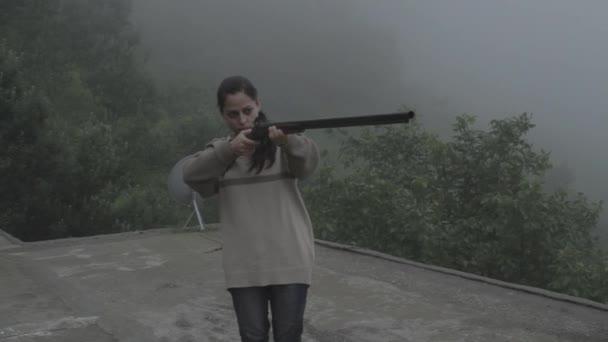 Indian woman shoots a flare gun