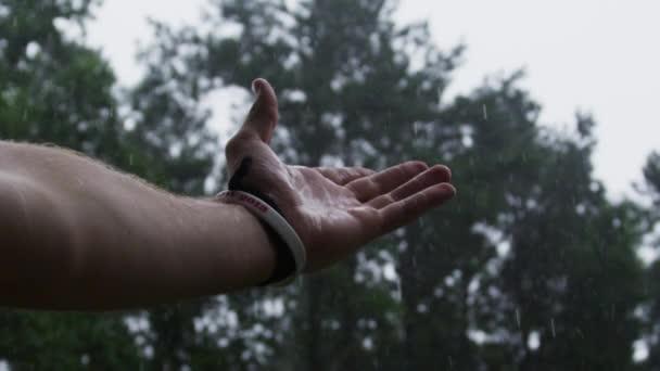 Hand feeling the rain