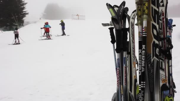 Nosič lyží na horské středisko